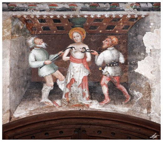 The martyrdom of Saint Agatha, fresco in Castell'Arquato, Piacenza, Italy