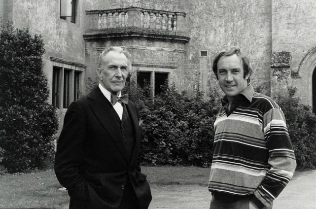 Pete Walker on set with Vincent Price in House of the Long Shadows