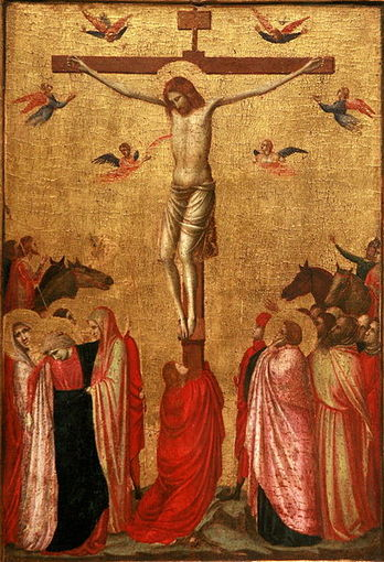 The crucifixion, oil on wood by Giotto (1266-1337), Musée des Beaux-Arts, Strasbourg, France